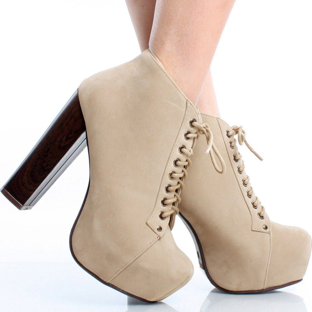Beige-Suede Lace Up Women Chunky High Heel Hidden Platform Ankle Boots
