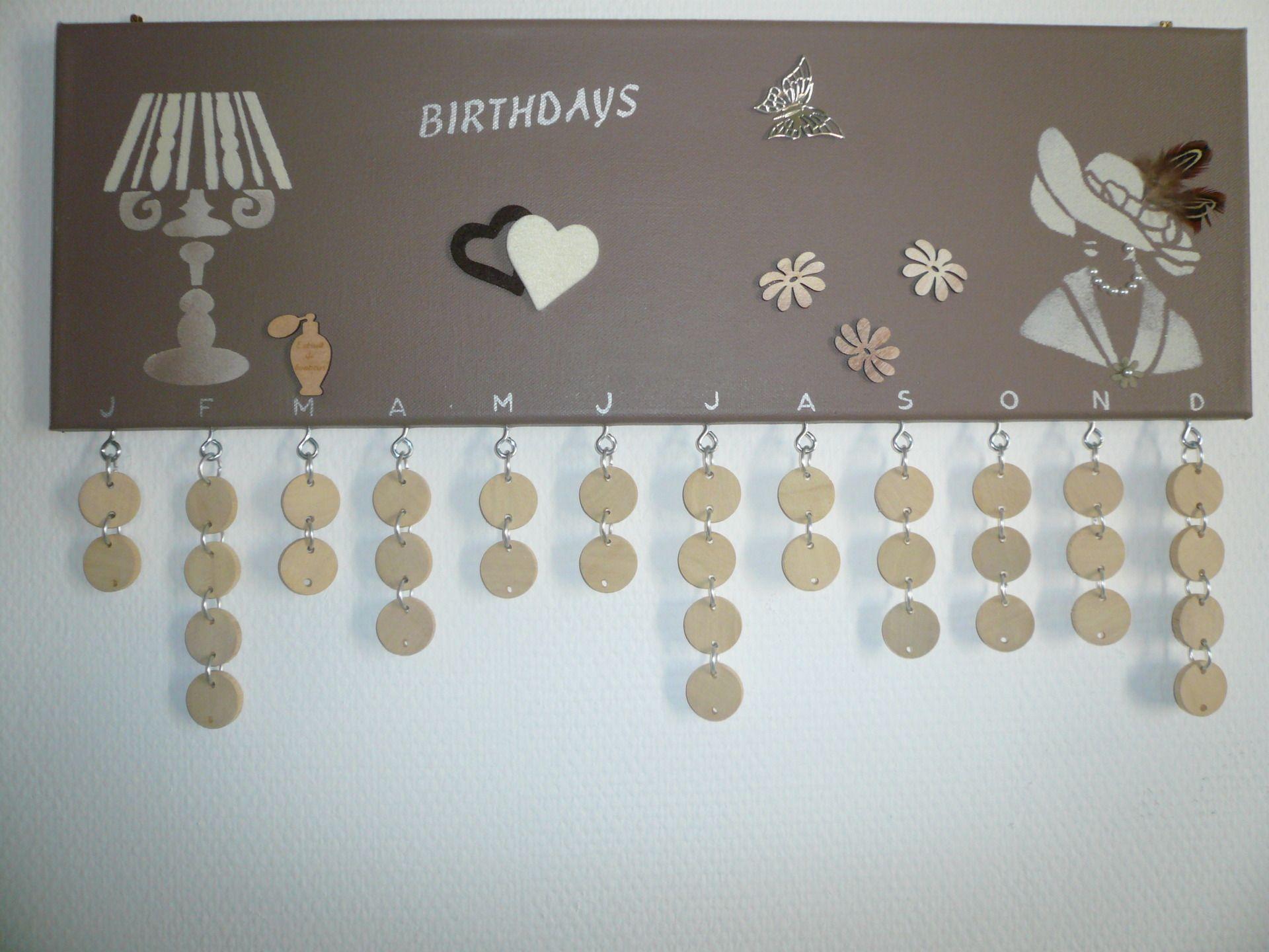 tableau avec un calendrier des anniversaires d corations murales par la caverne a martine. Black Bedroom Furniture Sets. Home Design Ideas