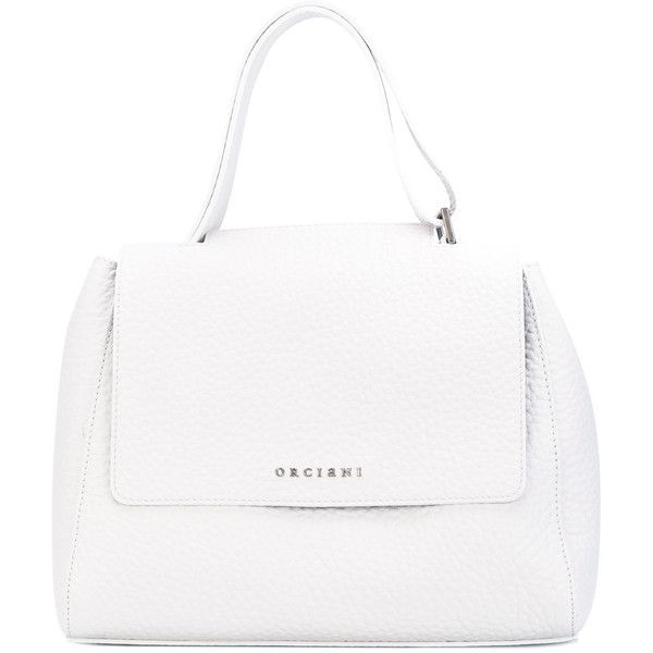 9ebb34fc47b9 Orciani Top Flap Tote (16.060 RUB) ❤ liked on Polyvore featuring bags,  handbags, tote bags, leather handbags, white handbag, white leather tote,  ...