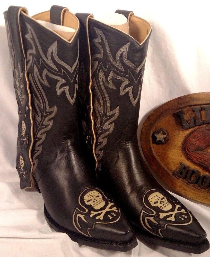 c75c6fdf853 NIB Liberty Boot Co Killaz Pee Wee Skull Boot Side Strap Size 9.5 ...