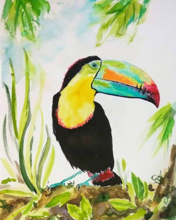 Keel Billed Toucan Original Watercolor Painting Ot Orangerinka