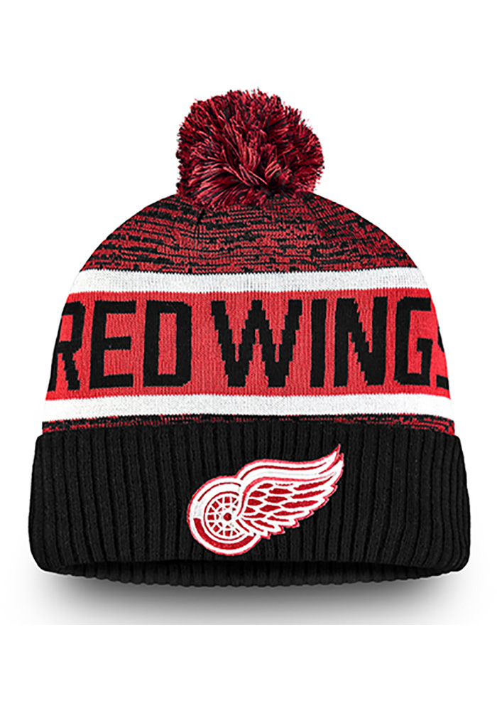 01f77d5f9e0 Detroit Red Wings Black Authentic Pro Rinkside Goalie Cuffed Mens Knit Hat