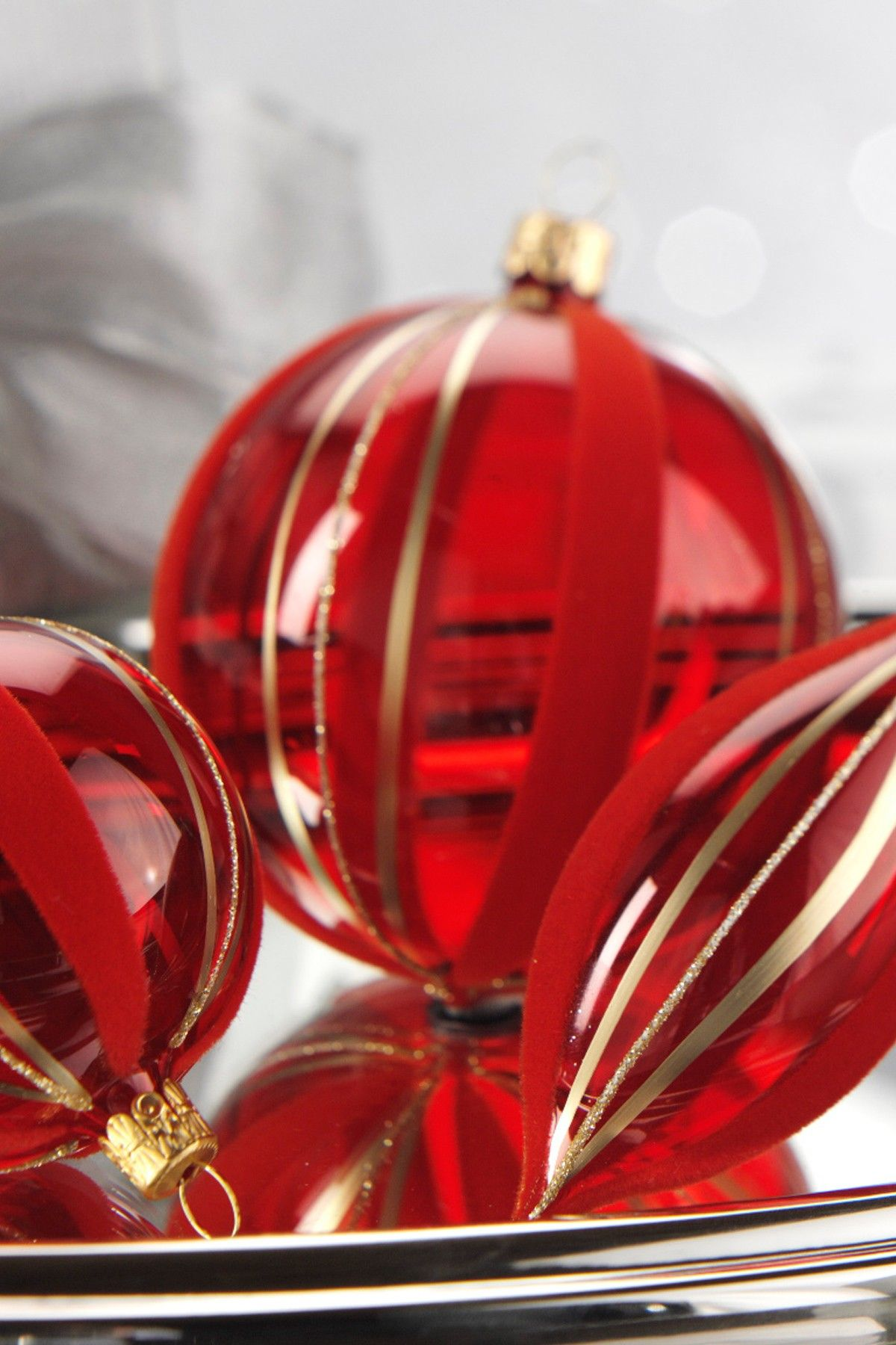 Red glass ball ornaments - Clear Red Glass Ball Ornament With Gold Decoration