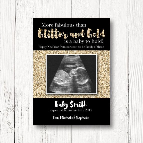 new years pregnancy announcement card pregnancy reveal more fabulous than glitter and gold is a