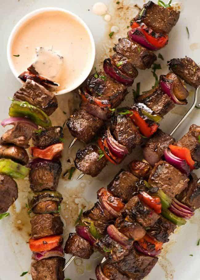 Marinated Beef Kabobs Recipe Kabob Recipes Beef Kabobs Marinated Beef