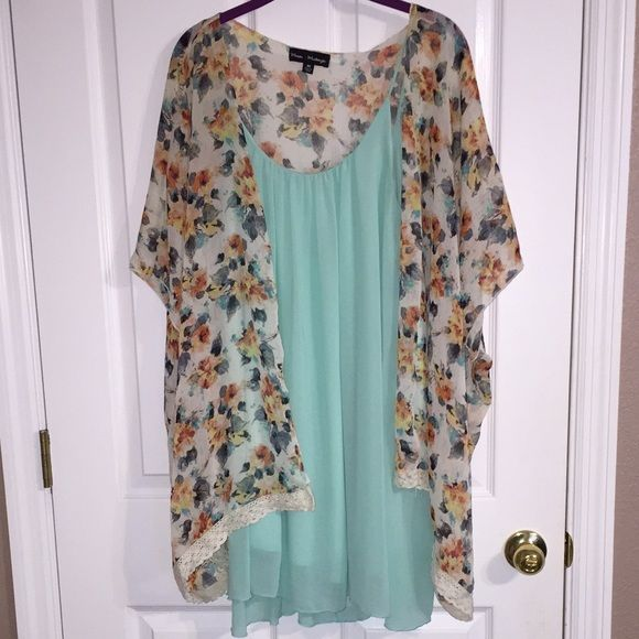 Floral kimono Sheer floral kimono with lace at the bottom. Looks great over a dress or with a cute top and skinny jeans! Great condition only wore a few times Tops Blouses