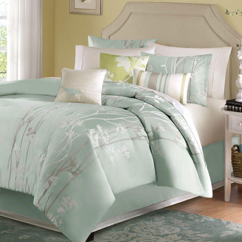 King Size 7 Piece Bed In A Bag Comforter Set Floral Jacquard Light Blue Green Sea Mist Blue Comforter Sets Comforter Sets Green Comforter