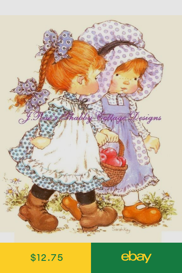 Holly Hobbie w Kitten Kitty Cat Adorable 8x10 Fabric Block Quilting /& More