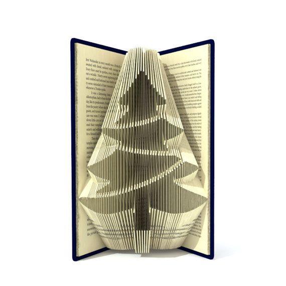 Book Folding Pattern Christmas Tree 212 Folds Tutorial Etsy Folded Book Art Pattern Book Folding Patterns Book Folding