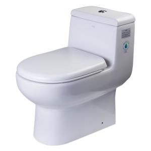 Eago 1 Piece 0 8 1 28 Gpf Dual Flush Elongated Toilet In