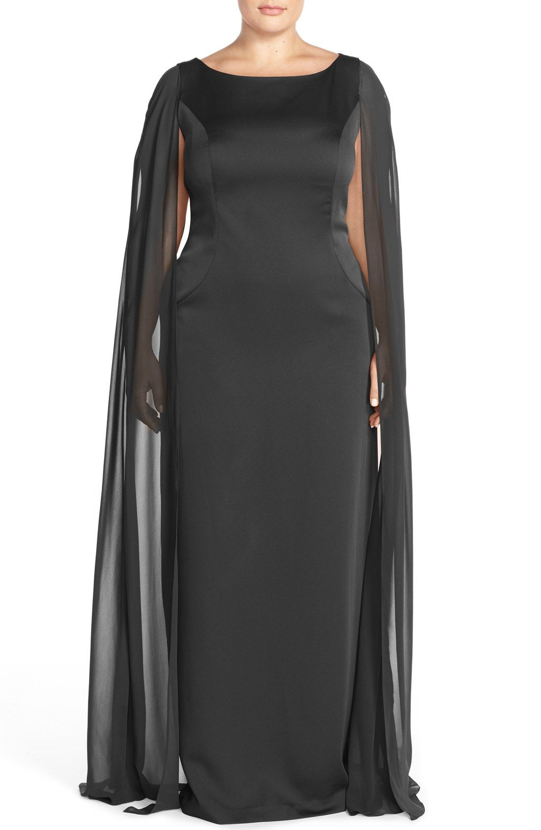 Adrianna Papell Satin Column Gown with Chiffon Cape (Plus ...