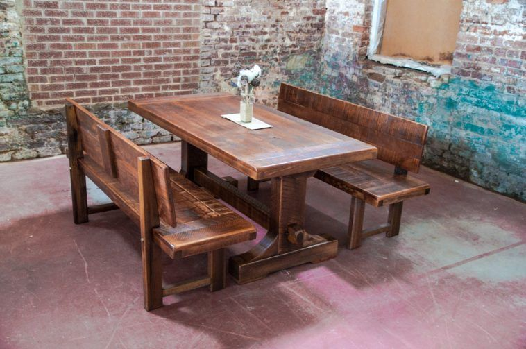 Rustic Farm Table With Bench Having Back Plus Exsposed Brick Wall