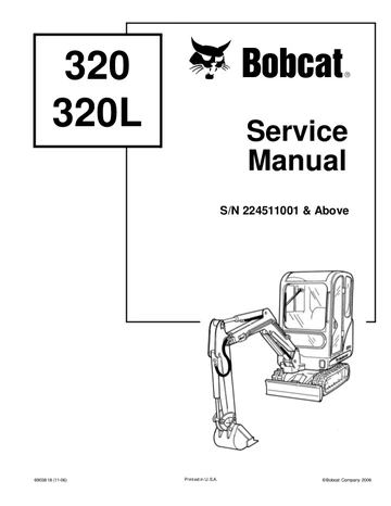 Bobcat 320 ,320L Hydraulic Excavator Service Repair Manual