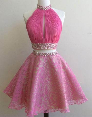 Hot Pink Short Two Pieces A Line Halter Homecoming Dress Short Prom