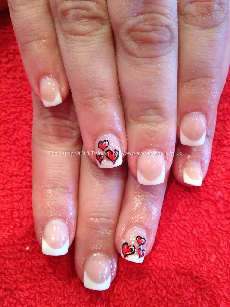 Sculptured French tips with extended nail beds and love heart ...