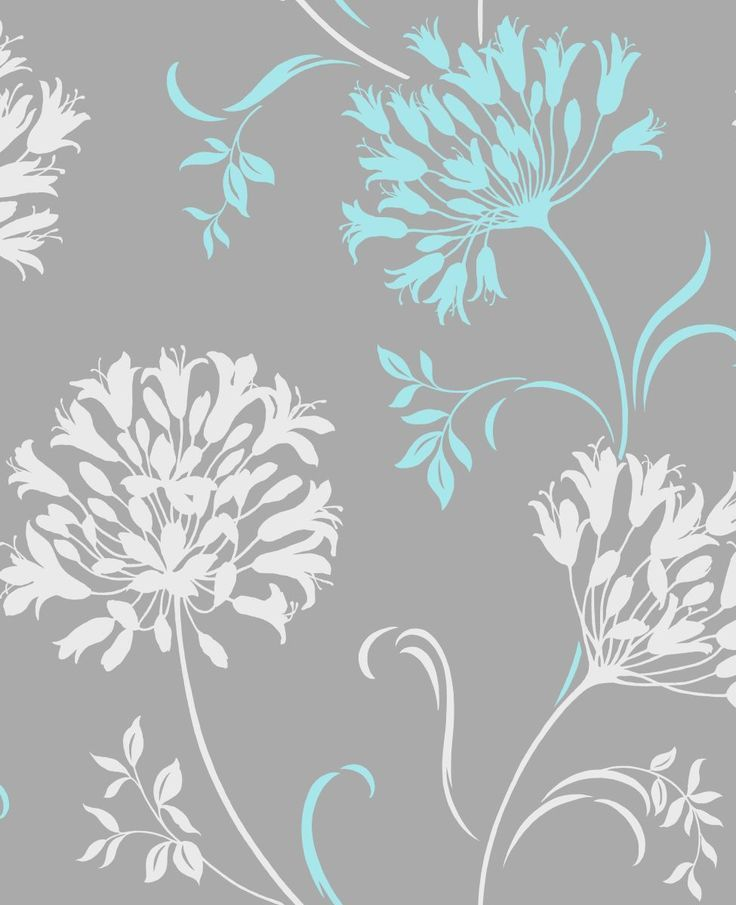 turquoise and grey wallpaper - Google Search | decorating ...