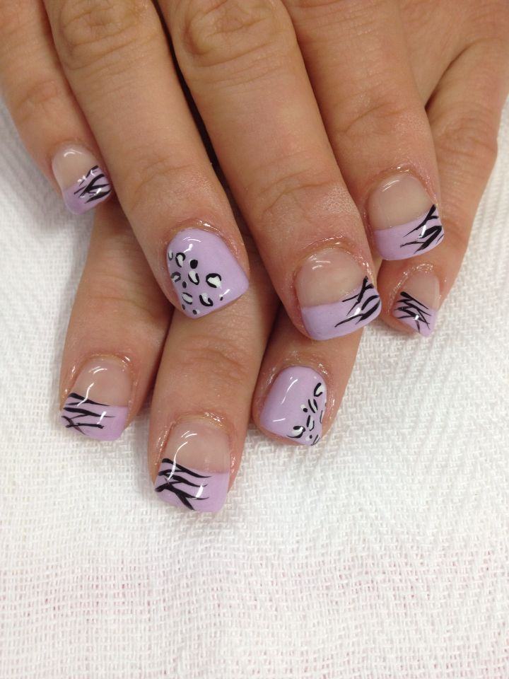 Lavender animal print French gel nails. All done with non-toxic and ...