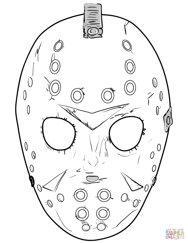 Friday 13th Jason Mask coloring page Free Printable