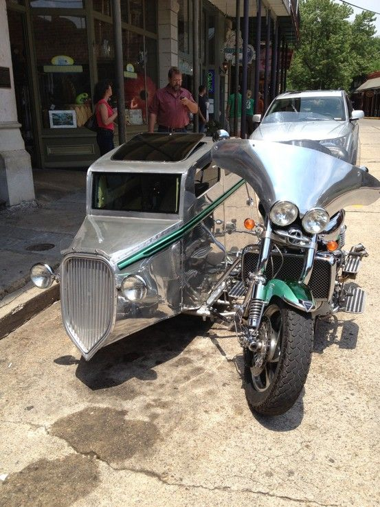 Custom motorcycle with matching sidecar  Saw this in Eureka Springs