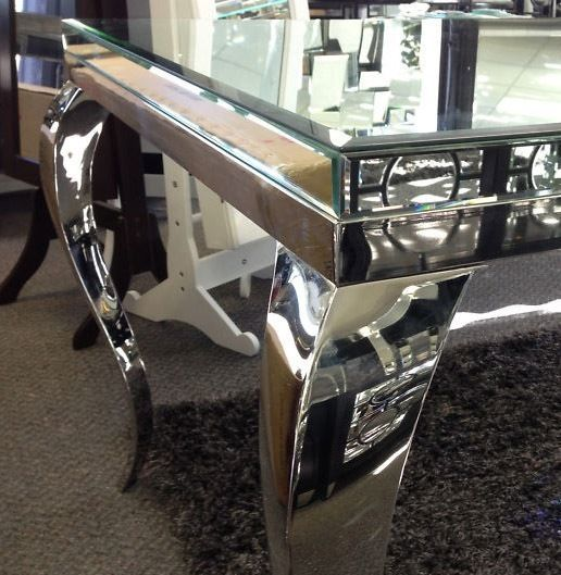 Square Mirrored Dining Table Glass Full Bevel Mirror Top With