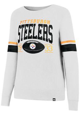 cb81569de  47 Pittsburgh Steelers Womens Ultra Throwback White Crew Sweatshirt Steelers  T Shirts