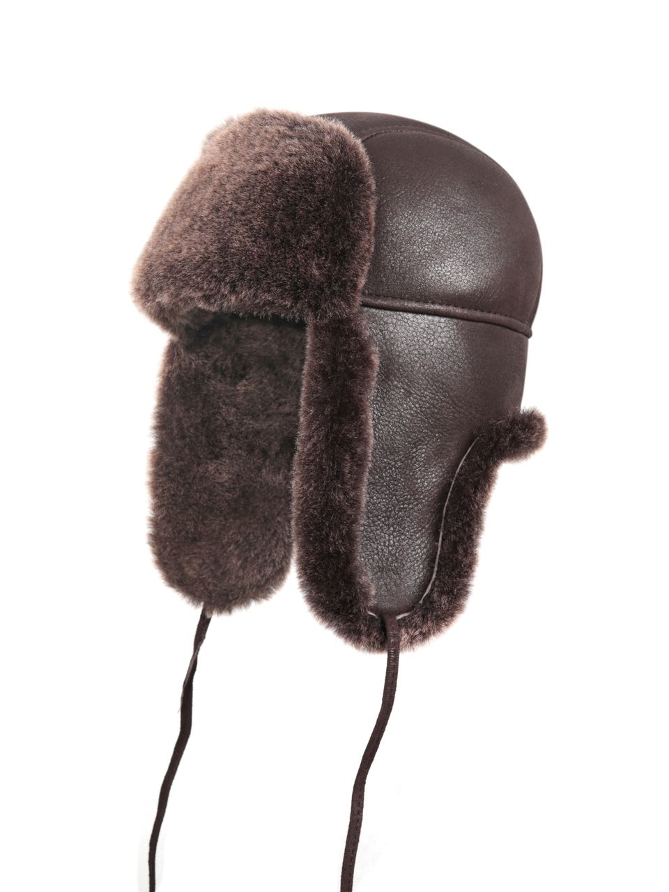 e354d1a172a9c Zavelio Shearling Sheepskin Aviator Winter Fur Hat - Brown