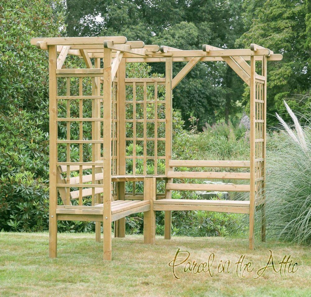 Garden Arbour Seat Pergola Trellis Wood Arch Bench Corner Storage Patio Furnitur