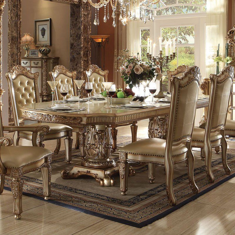 Acme Furniture Vendome Tufted Dining Side Chairs Set Of 2 Gold Patina 63003 Dining Chairs Side Chairs Dining Pedestal Dining Table