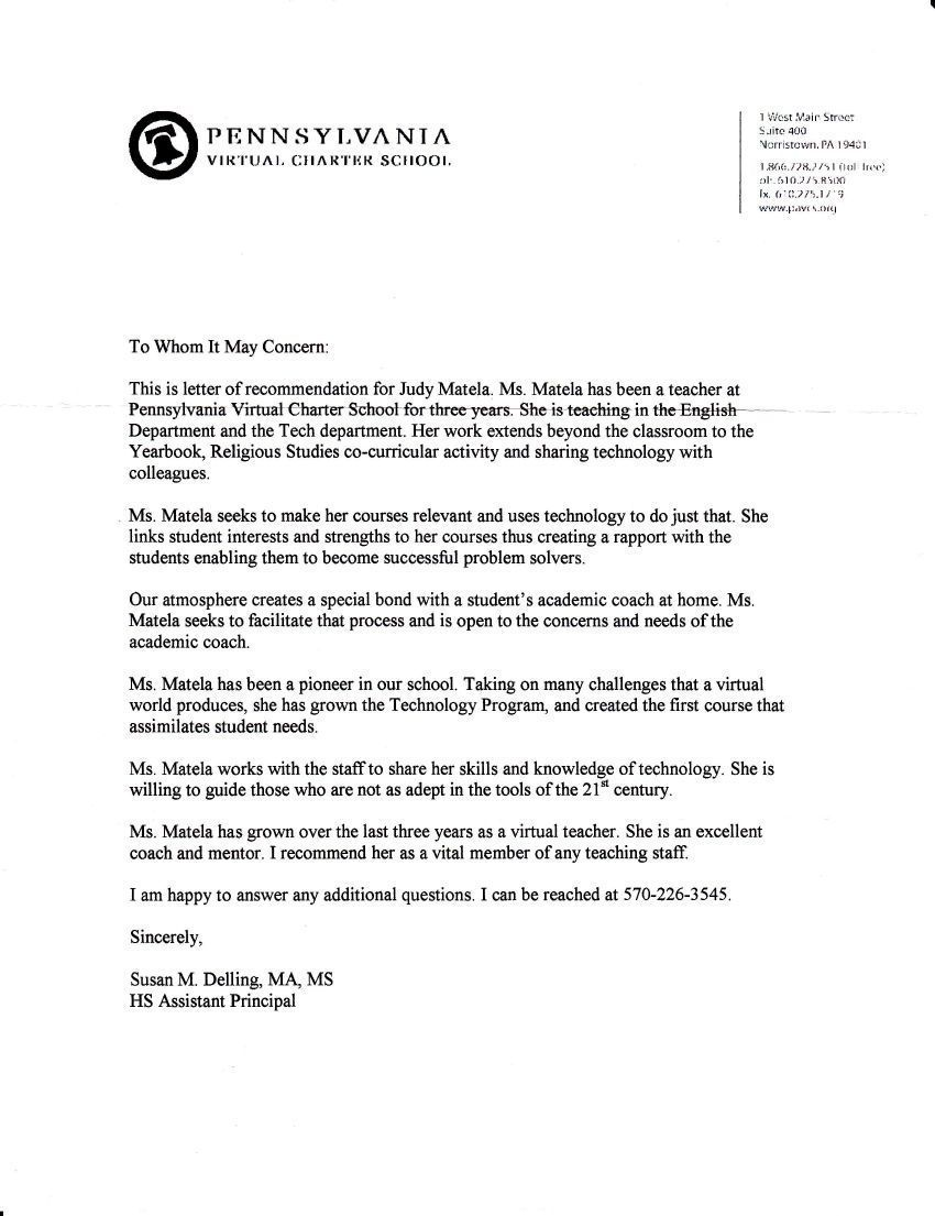 Letter Of Recommendation For Principal Free Resumes Tips Resume