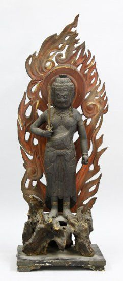 Standing Wood Statue of Acala (Fudo Myouo). Bid online with Proxibid and Kogire-Kai until April 28.