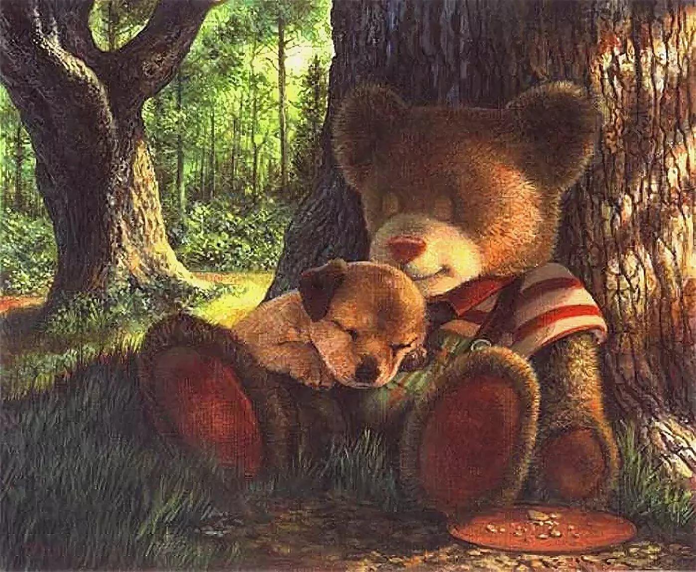 открытки с мишками в лесу