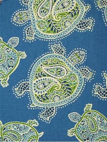 """Tranquil Turtles Peninsula.  Tommy Bahama Fabric - Island Memories Collection. 100% cotton canvas batik print. Multi purpose home decorator fabric for drapery, upholstery, pillows, top of the bed or slipcovers. V 13.5"""" / H 13.5"""". Made in U.S.A. 54"""" wide."""