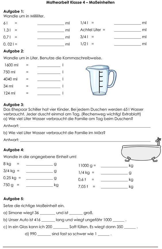 Klassenarbeit Zu Grossen Und Masseinheiten Mathematik 4 Klassenarbeiten Mathe Klasse 4 Klassenarbeiten