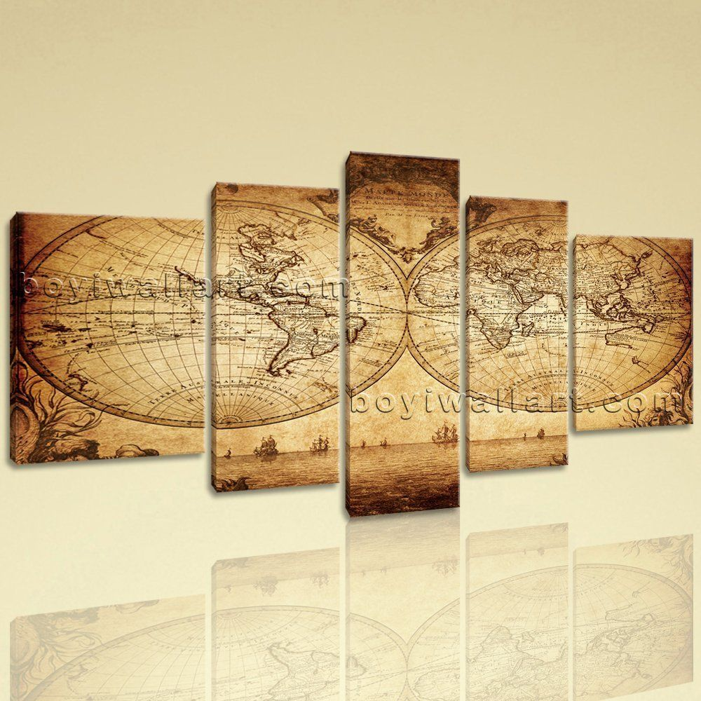 Extra Large Vintage Map Other Retro Canvas Print Decorative Wall Art Living Room