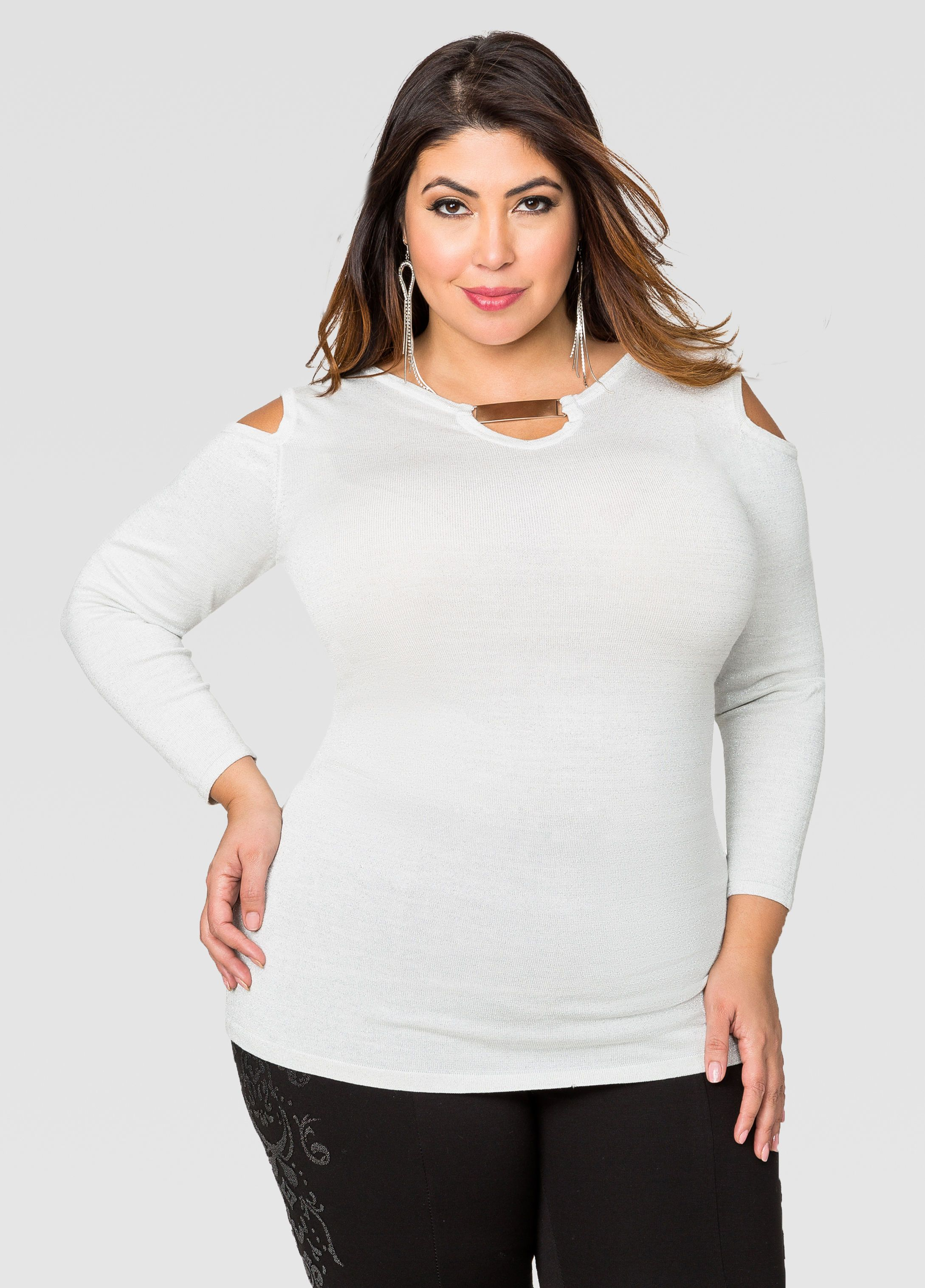 Gold Bar Cold Shoulder Tunic Sweater - Ashley Stewart | Jessica ...