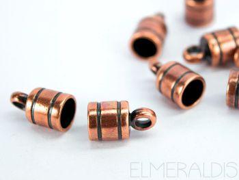 2 Endkappen 6mm rund Copper Antique kupfer Zamak