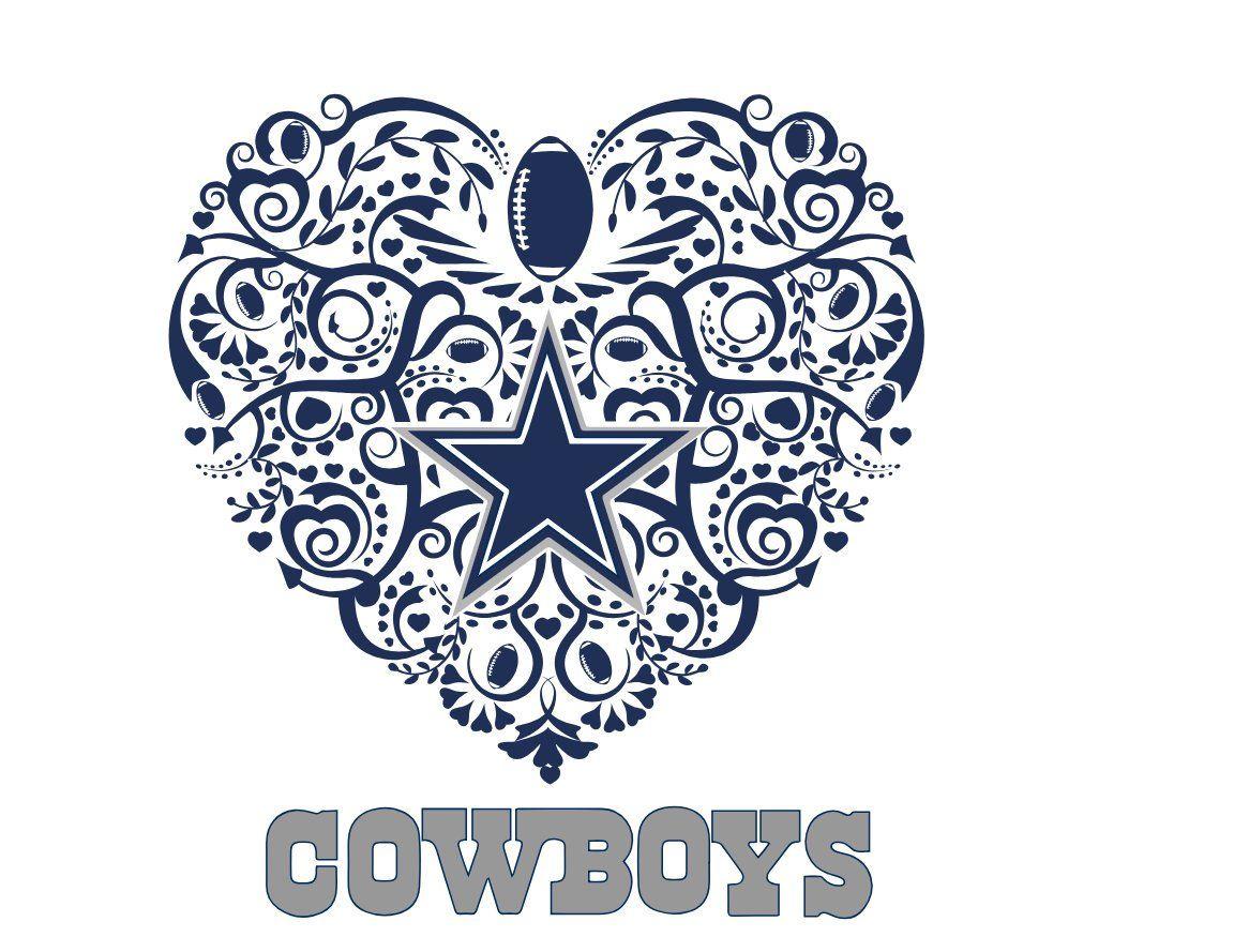 Dallas Cowboys Football Heart SVG Etsy Dallas cowboys