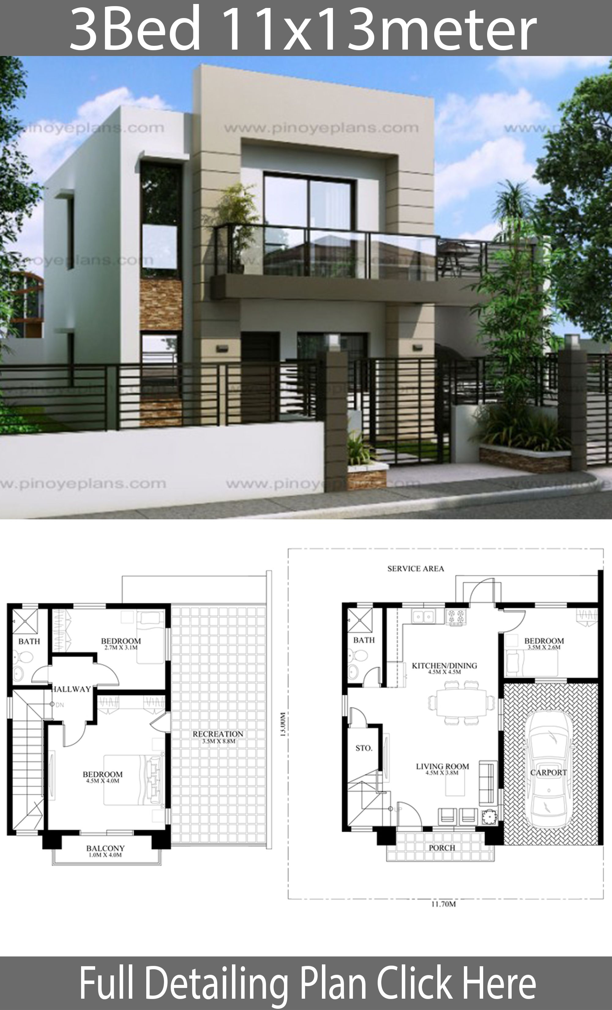 House Design 11x13m With 3 Bedrooms In 2020 Philippines House