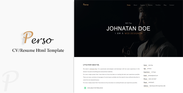 Resume Html Template Perso  Personal Resume  Cv  Portfolio Html Template  Resume Cv