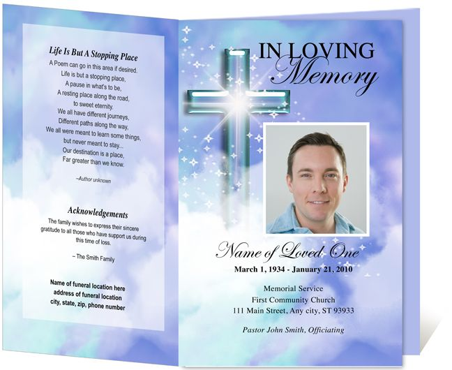 Funeral Program Template with Butterfly More Single Fold – Free Printable Obituary Program Template