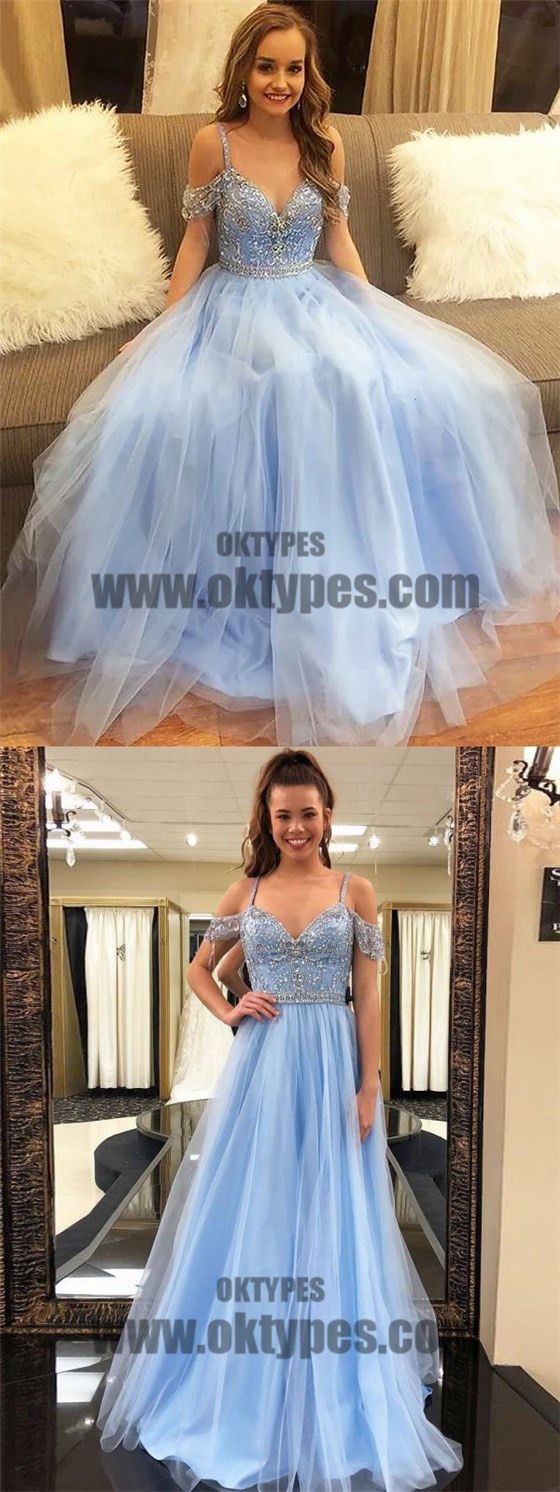 Long floor length tulle prom dresses offshoulder prom dresses