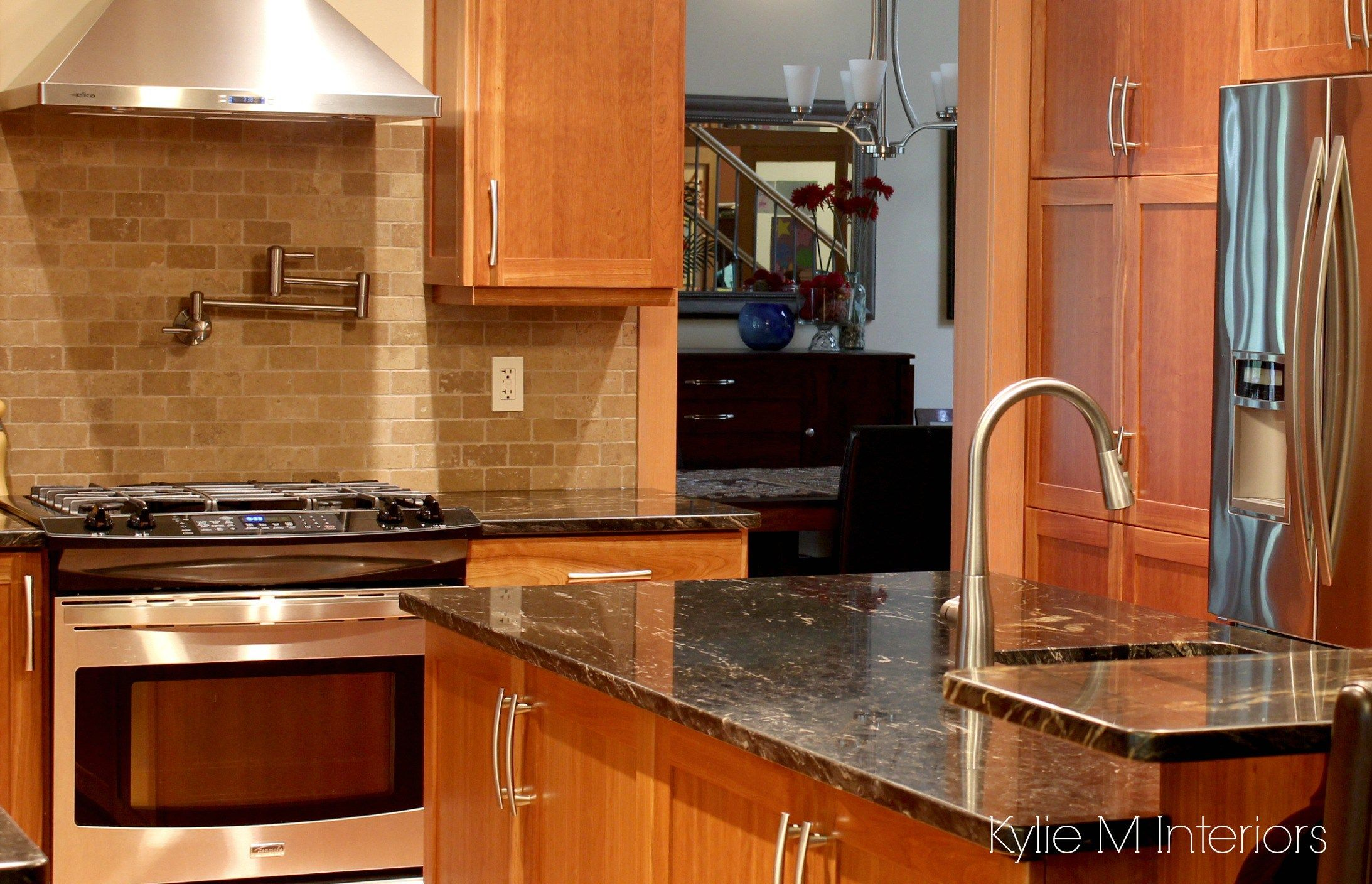 Natural Cherry Cabinets In Kitchen With Black Granite Prep Sink Pot Filler An Cherry Cabinets Kitchen Trendy Kitchen Backsplash Replacing Kitchen Countertops