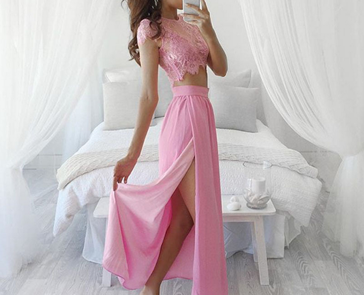 Sexy pink lace three-piece dress | ropa | Pinterest | Vestiditos ...