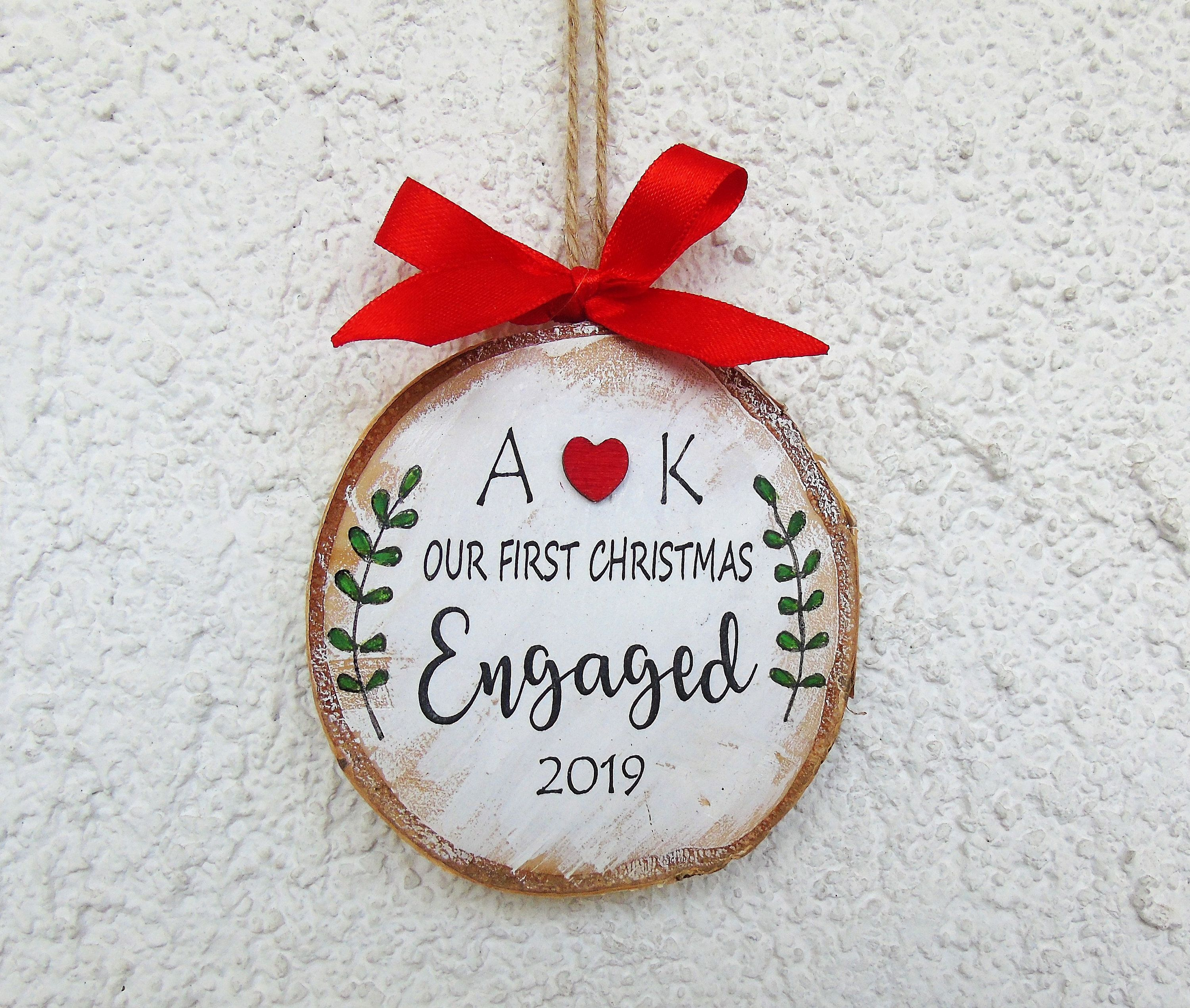 Engagement gift our first christmas engaged ornament