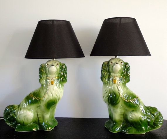 Pair Of Unique Vintage Dog Lamps Staffordshire By Funkylamplove