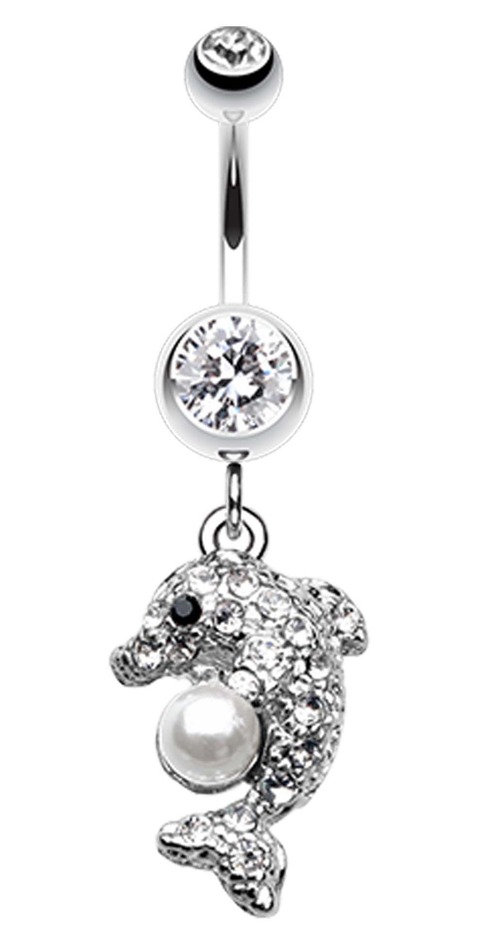 Belly button piercing earrings  Sparkling Dolphin Belly Button Ring  Belly button