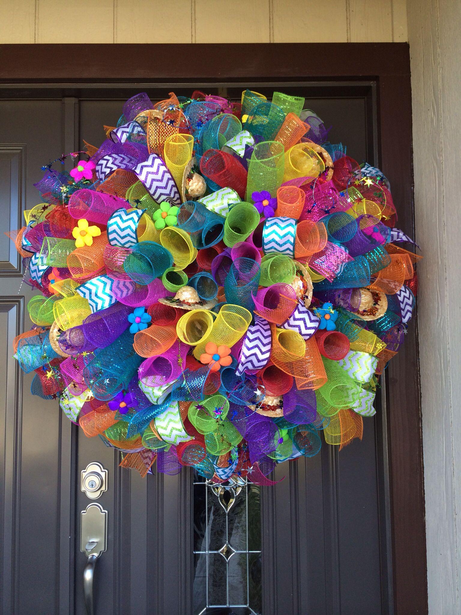 Fiesta Spiral Deco Mesh Wreath Wreaths Pinterest