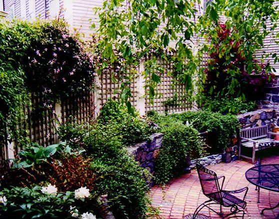 City Garden In Historic Neighborhood; Painted Lattice Inlay Privacy Fence;  Brick Patio; Field