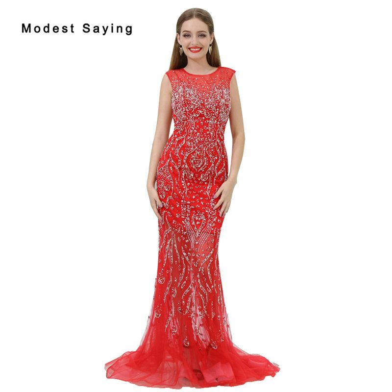 Find More Evening Dresses Information about Luxury Sheer Red Mermaid ...