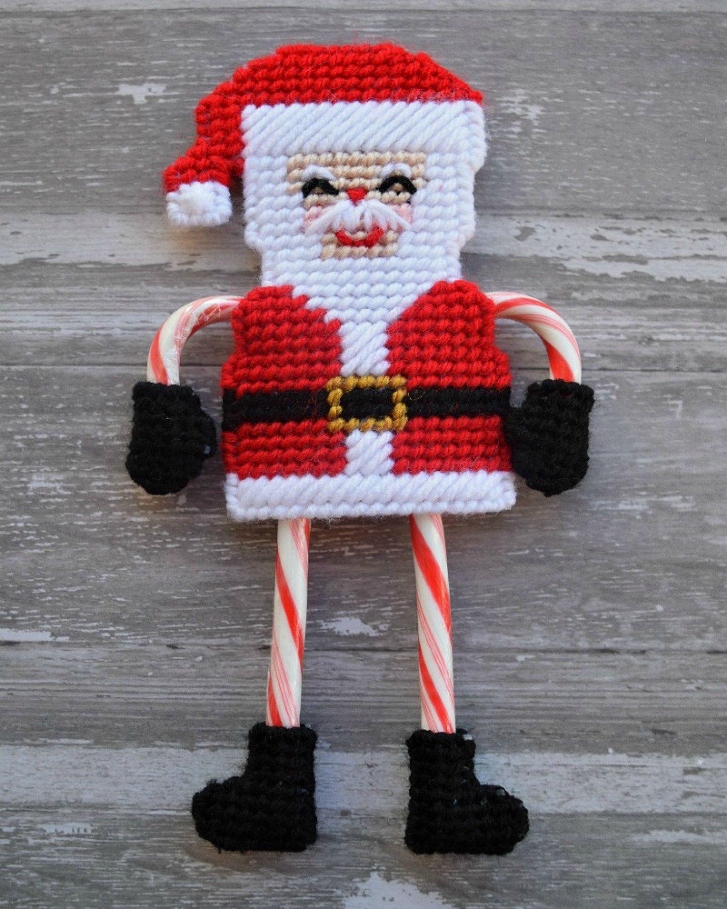 Santa Candy Cane Holder Plastic Canvas Pattern